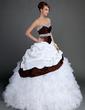 Ball-Gown Sweetheart Sweep Train Taffeta Organza Wedding Dress With Lace Beading Cascading Ruffles (002015724)