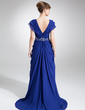 A-Line/Princess V-neck Sweep Train Chiffon Mother of the Bride Dress With Beading Cascading Ruffles (008006226)