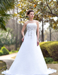 A-Line/Princess Strapless Chapel Train Satin Organza Wedding Dress With Embroidered Beading Sequins (002000390)