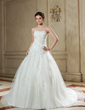 Ball-Gown Sweetheart Chapel Train Tulle Wedding Dress With Ruffle Beading Appliques Lace (002011720)
