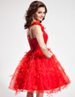 A-Line/Princess One-Shoulder Knee-Length Organza Homecoming Dress With Ruffle Flower(s) (002024406)