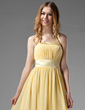 A-Line/Princess Halter Tea-Length Chiffon Bridesmaid Dress With Ruffle Bow(s) (007000956)