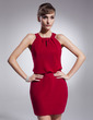 Sheath/Column Halter Short/Mini Chiffon Bridesmaid Dress (022009216)