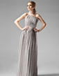 Empire One-Shoulder Floor-Length Chiffon Bridesmaid Dress With Beading Pleated (007000957)