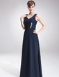 A-Line/Princess V-neck Floor-Length Chiffon Mother of the Bride Dress With Ruffle Beading (008006330)
