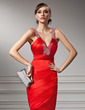 Sheath/Column V-neck Knee-Length Satin Cocktail Dress With Ruffle Beading (016008852)