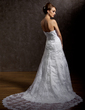 A-Line/Princess Sweetheart Court Train Lace Wedding Dress With Beading Flower(s) (002011635)