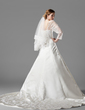 A-Line/Princess Square Neckline Chapel Train Satin Wedding Dress With Ruffle Lace Beading (002000497)