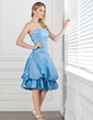 A-Line/Princess Strapless Knee-Length Taffeta Bridesmaid Dress With Ruffle (007001048)