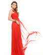 Empire One-Shoulder Floor-Length Chiffon Holiday Dress With Ruffle (020016069)