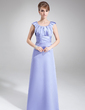 Sheath/Column Scoop Neck Floor-Length Satin Mother of the Bride Dress With Ruffle (008006532)