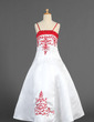 A-Line/Princess Floor-length Flower Girl Dress - Satin Sleeveless With Embroidered/Sash/Beading (010005773)