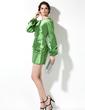 Kılıf Yuvarlak Yaka Kısa/Mini Charmeuse Kokteyl Elbisesi Ile Büzgü Boncuklama (016008265)