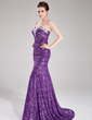 Trumpet/Mermaid Sweetheart Sweep Train Sequined Prom Dress With Beading (018018881)