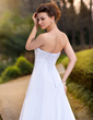 A-Line/Princess Strapless Chapel Train Chiffon Wedding Dress With Ruffle Beading Sequins (002000391)
