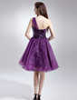 A-Line/Princess One-Shoulder Knee-Length Organza Homecoming Dress With Ruffle (022015712)