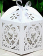 Heart Shape Laser Cut Cubic Favor Boxes With Ribbons (Set of 12) (050024288)