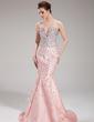 Trumpet/Mermaid Sweetheart Sweep Train Taffeta Evening Dress With Beading (017019552)