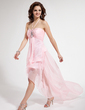 Empire Halter Asymmetrical Chiffon Prom Dress With Ruffle Beading (018008272)