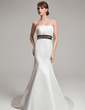 Trumpet/Mermaid Sweetheart Court Train Satin Wedding Dress With Embroidered Ruffle Sash (002000101)