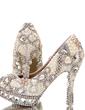 Women's Real Leather Stiletto Heel Closed Toe Platform Pumps With Imitation Pearl Rhinestone (047054766)