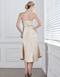 Empire Sweetheart Tea-Length Charmeuse Bridesmaid Dress With Ruffle Beading (007001844)