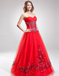 A-Line/Princess Sweetheart Floor-Length Tulle Quinceanera Dress With Embroidered Beading Sequins (021016890)