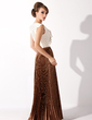 A-Line/Princess V-neck Floor-Length Chiffon Charmeuse Mother of the Bride Dress With Cascading Ruffles Pleated (008025931)