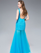 Trumpet/Mermaid V-neck Floor-Length Tulle Prom Dress With Beading Sequins (018044987)