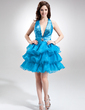 A-Line/Princess Halter Short/Mini Organza Sequined Homecoming Dress With Beading Cascading Ruffles (022020756)