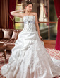 Ball-Gown Strapless Cathedral Train Taffeta Wedding Dress With Embroidered Ruffle Sash Beading Sequins (002004589)