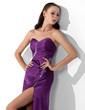 Sheath/Column Sweetheart Floor-Length Charmeuse Evening Dress With Beading Split Front (017025917)