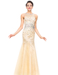 Trumpet/Mermaid Scoop Neck Floor-Length Tulle Lace Prom Dress With Beading Sequins (018051170)