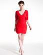 Sheath/Column V-neck Short/Mini Chiffon Cocktail Dress With Ruffle Beading (016008913)