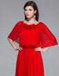A-Line/Princess Scoop Neck Floor-Length Chiffon Evening Dress With Ruffle Flower(s) (017039547)