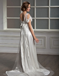 A-Line/Princess Sweetheart Watteau Train Charmeuse Tulle Wedding Dress With Lace Bow(s) (002012162)