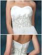 A-Line/Princess Sweetheart Court Train Satin Organza Wedding Dress With Beading Appliques Lace Sequins (002022594)