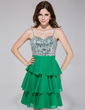 A-Line/Princess Sweetheart Short/Mini Chiffon Sequined Homecoming Dress With Beading Cascading Ruffles (022027395)