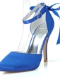 Women's Satin Stiletto Heel Closed Toe Pumps With Bowknot Buckle (047057079)
