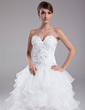 A-Line/Princess Sweetheart Asymmetrical Organza Prom Dress With Beading Cascading Ruffles (018014995)