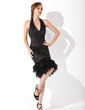 Sheath/Column Halter Knee-Length Sequined Cocktail Dress With Ruffle Feather (016008259)