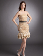 Sheath/Column Strapless Short/Mini Satin Chiffon Homecoming Dress With Sash Beading Pleated (022009860)