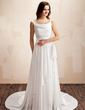 A-Line/Princess Cowl Neck Court Train Chiffon Wedding Dress With Ruffle Beading (002011559)