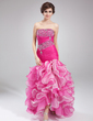 Trumpet/Mermaid Strapless Asymmetrical Organza Prom Dress With Beading Cascading Ruffles (018021097)