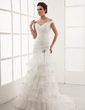 A-Line/Princess Off-the-Shoulder Court Train Organza Wedding Dress With Lace Crystal Brooch Cascading Ruffles (002012925)