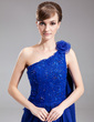 A-Line/Princess One-Shoulder Court Train Chiffon Mother of the Bride Dress With Beading Flower(s) Sequins (008006524)