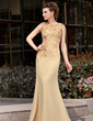 Trumpet/Mermaid Scoop Neck Sweep Train Chiffon Mother of the Bride Dress With Lace Beading Sequins (008018741)