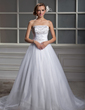 Ball-Gown Strapless Chapel Train Tulle Wedding Dress With Ruffle Beading (002011560)