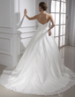 Ball-Gown Sweetheart Chapel Train Taffeta Wedding Dress With Ruffle (002015468)