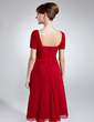 A-Line/Princess V-neck Knee-Length Chiffon Mother of the Bride Dress With Ruffle (008016007)